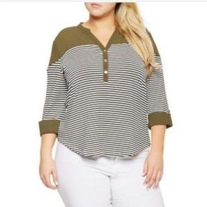 3X Olive Striped Top w/Tabbed Sleeve+White Jeans